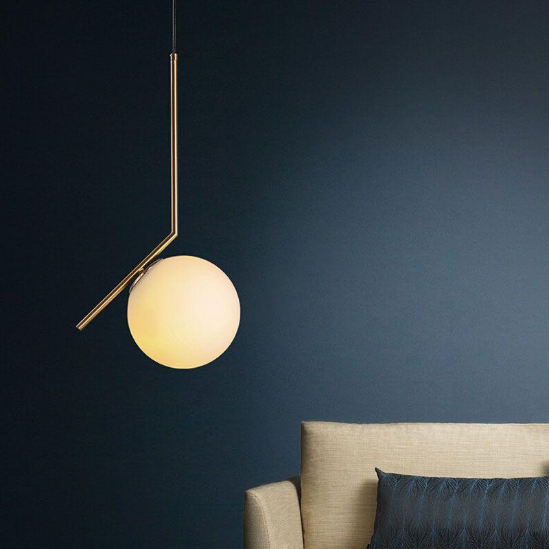 2016 New Modern Milk White Glass Ball Pendant Lamp Home Decor