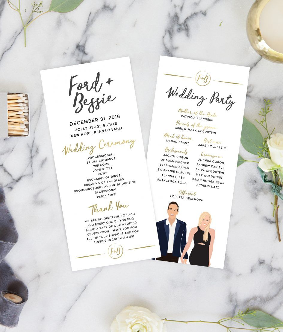 Wedding Ceremony Programs with Portraits  Winter wedding planning