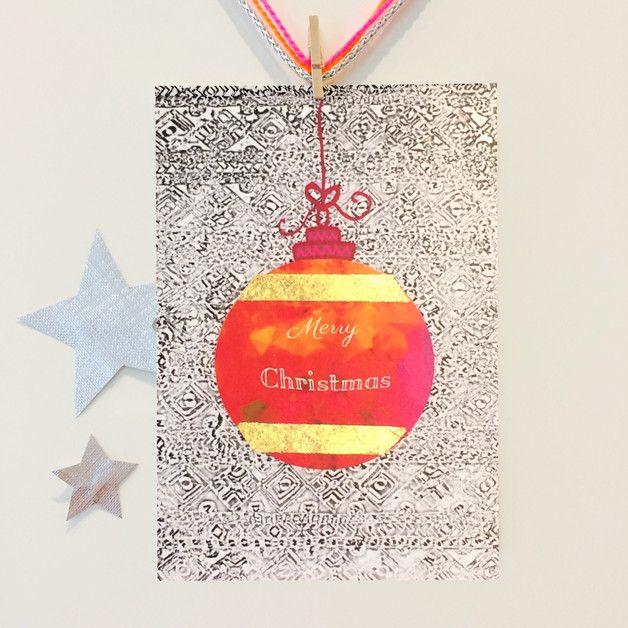 coole weihnachtskarte mit schlagmetall verziert. Black Bedroom Furniture Sets. Home Design Ideas