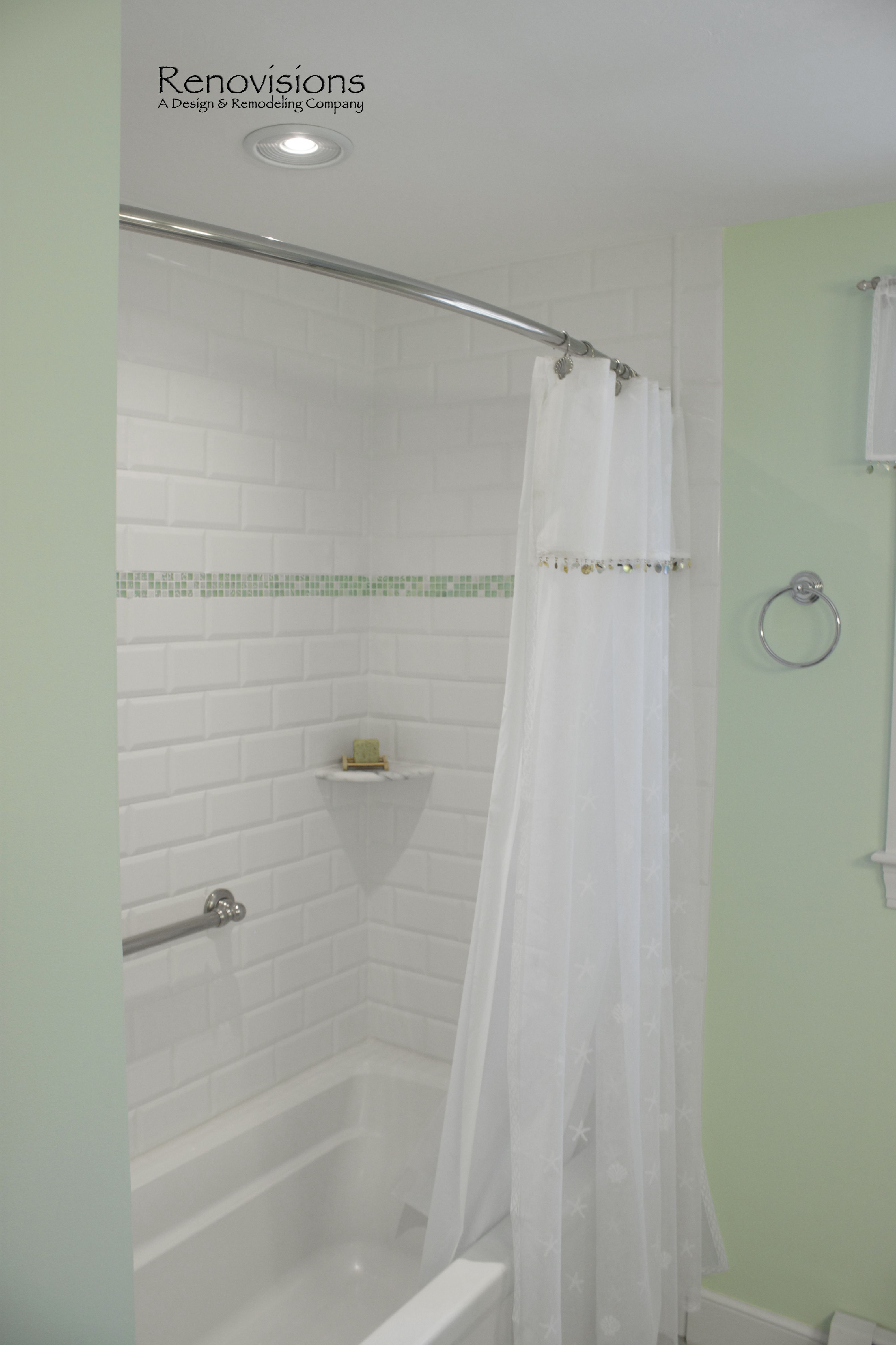 Bathroom remodel by Renovisions. Beveled subway tile, decorative sea ...
