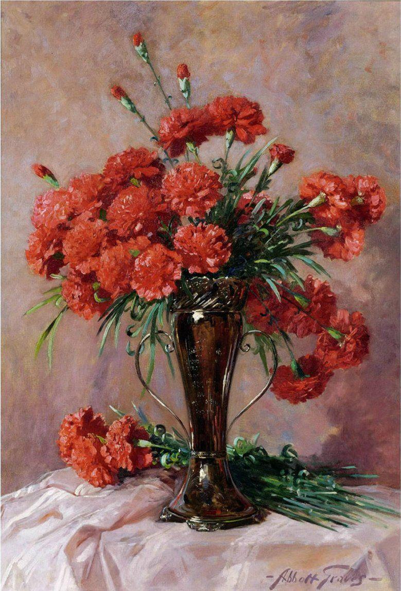 Abbott fuller graves 1859 1936 red carnations in a silver vase abbott fuller graves 1859 1936 red carnations in a silver vase reviewsmspy