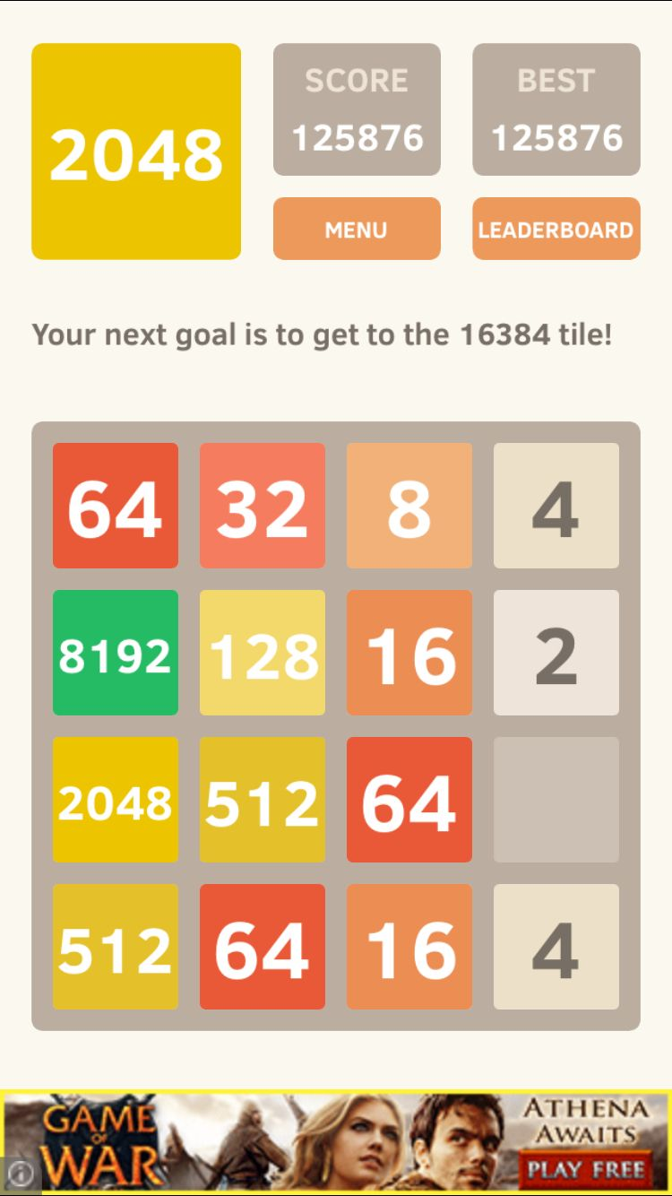 Got the 8192 tile how to get goals scores