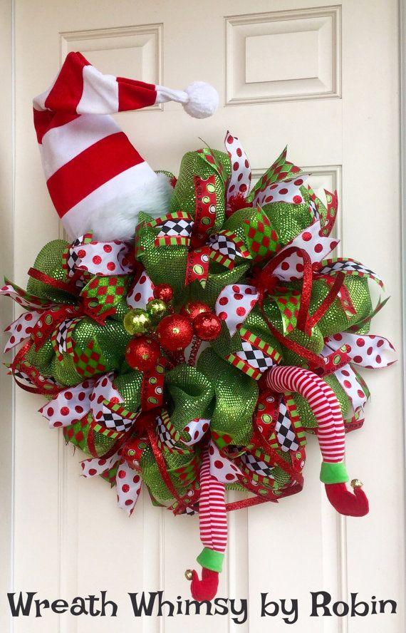 XL Deco Mesh Holiday Elf Wreath in