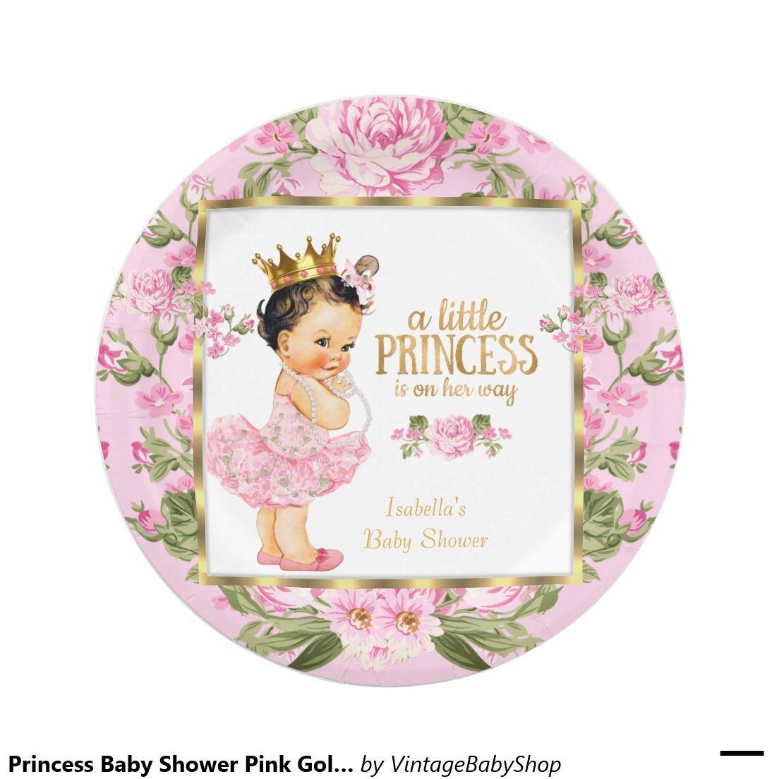 Princess Baby Shower Pink Gold Rose Floral Paper Plate | Princess ...