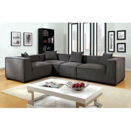 furniture of america evita transitional modular sectional gray in rh pinterest com