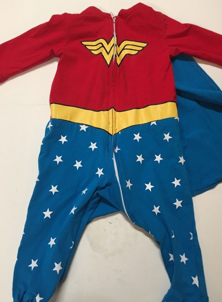 224ee9b06136 Rubies Infant Wonder Woman Pajamas Cape 0-6 Month Excellent Baby ...