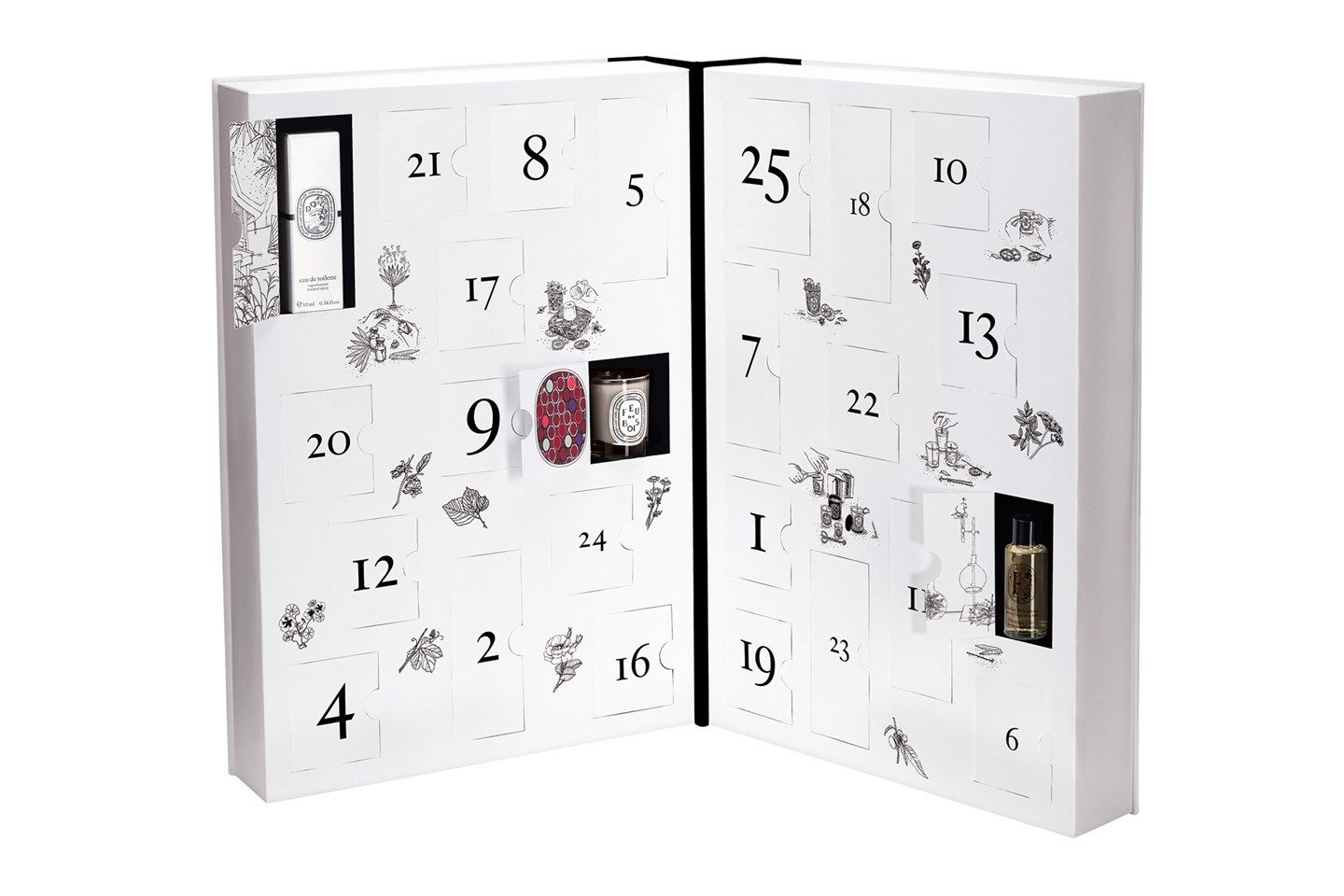 Who wouldn't want to begin every day of December with a new Diptyque treat to uncover? Mini candles, fragrance vials and bodycare products are all hiding behind the stylish monochrome doors.   Diptyque Advent Calendar, £250. Available at www.selfridges.com from mid-November.
