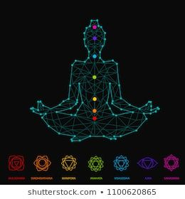 woman silhouette sitting in lotus pose of yoga with seven