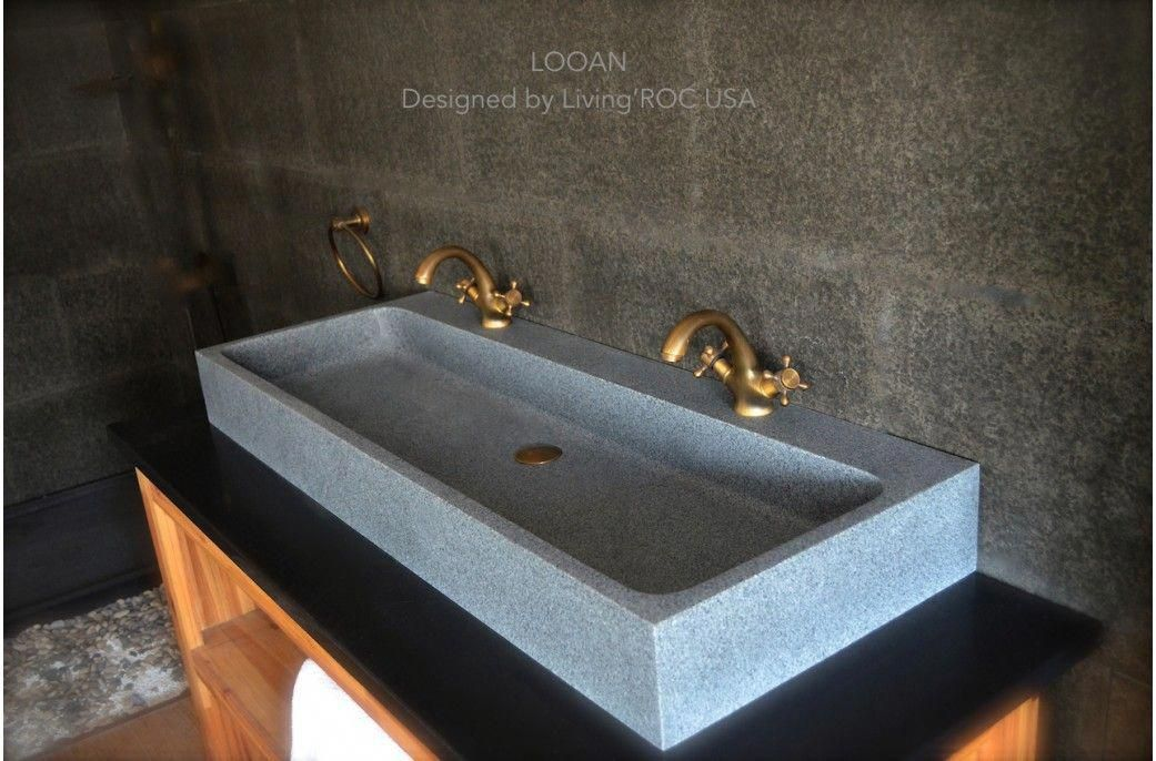 47 double trough gray granite stone bathroom sink looan rh pinterest com