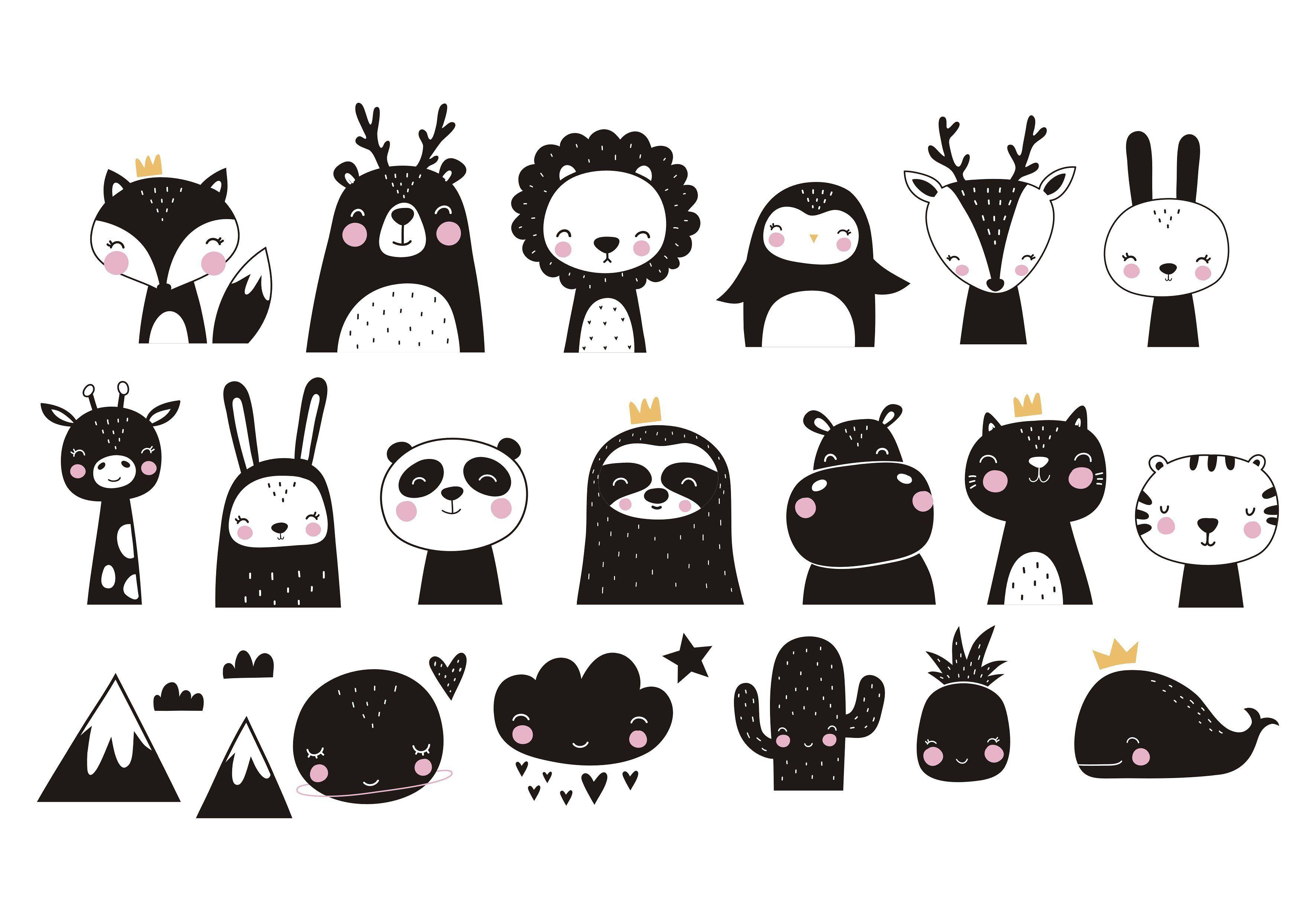 Scandinavian Animals Prints Pattern Animal Illustration Kids Hand Drawn Vector Illustrations Animal Illustration