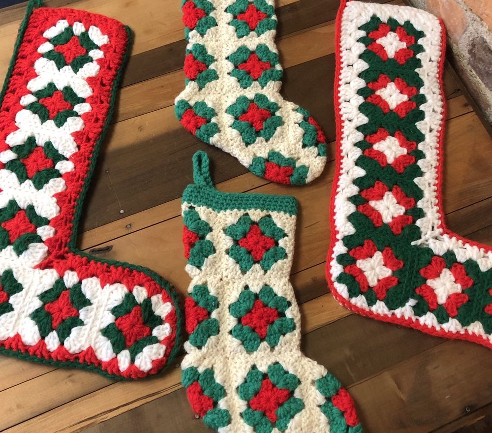 4 Vintage Christmas Stocking Crocheted Granny Square Hand Made