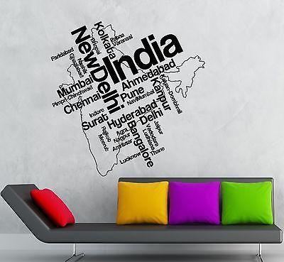 wall sticker vinyl decal india map new delhi indian tourist unique