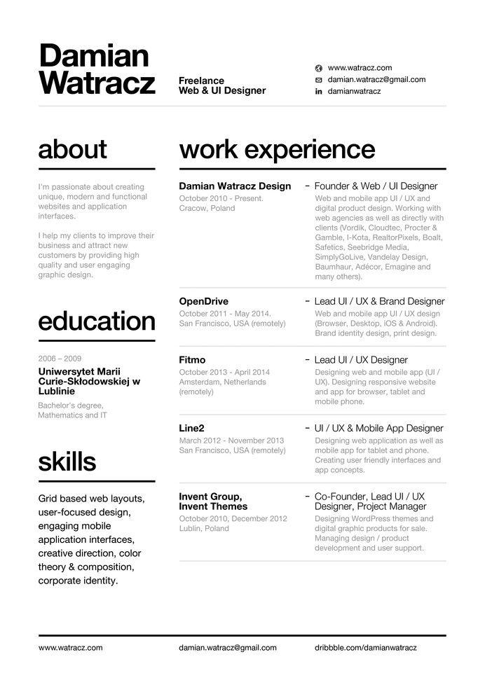 Swiss Style Resume 2014 By Damian Watracz Graphic Design Resume Resume Design Creative Resume Design Free