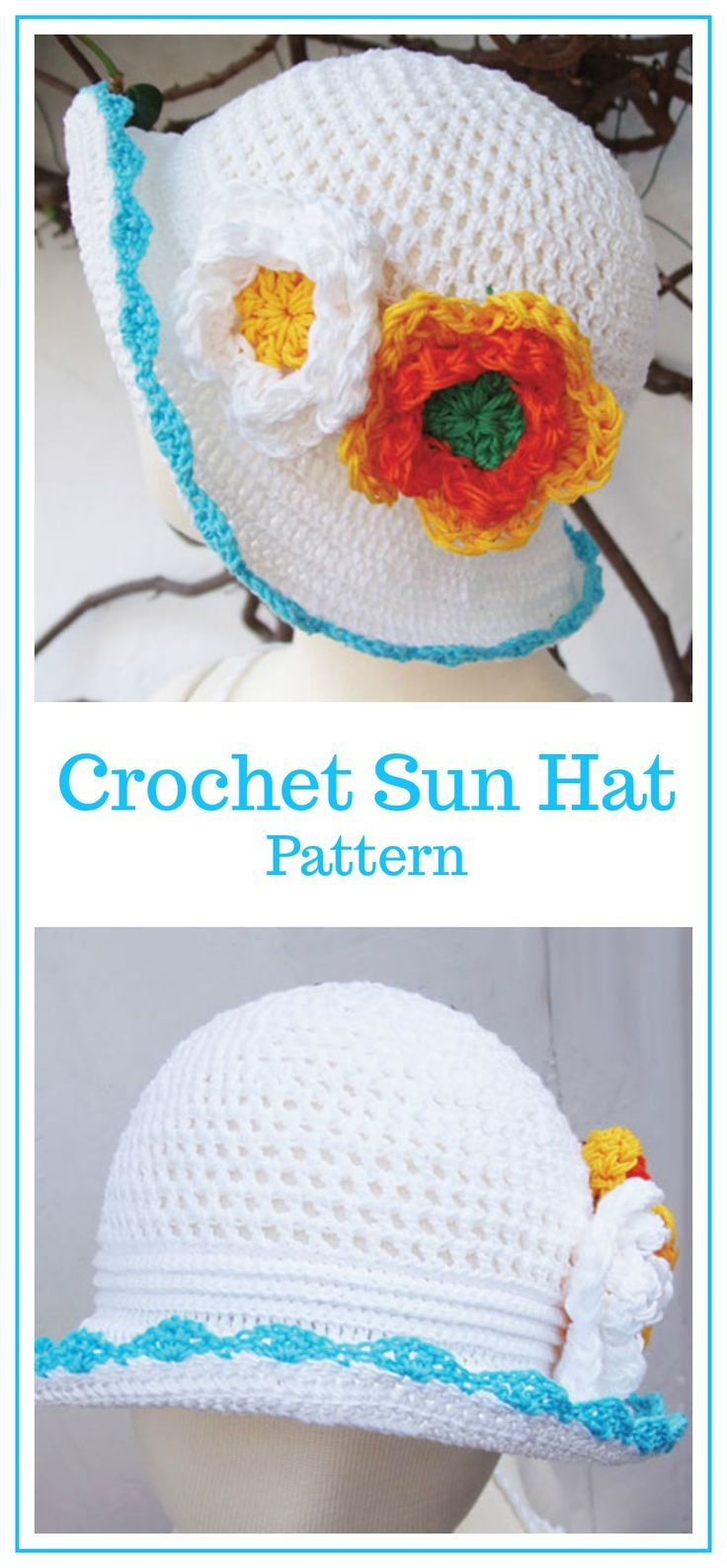 A lovely sun hat with adjustable brim, great for scrap yarns! Sun ...