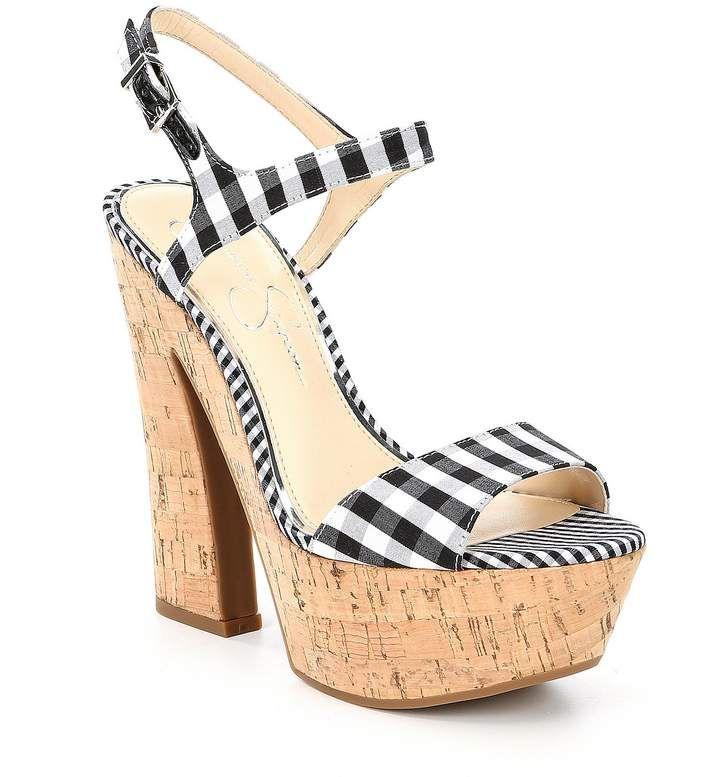 9c04f2f0183 Jessica Simpson Divella Gingham Print Cork Platform Sandals - White and  Black Gingham Heeled Sandals