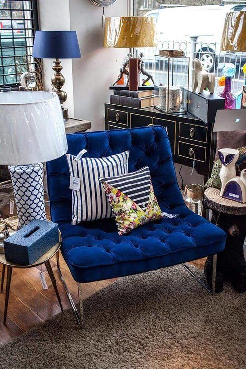 Glasgow Interior Inspiration Cobolt Blue Quilted Lux Chair With Metal Legs Nautical Striped Cushions