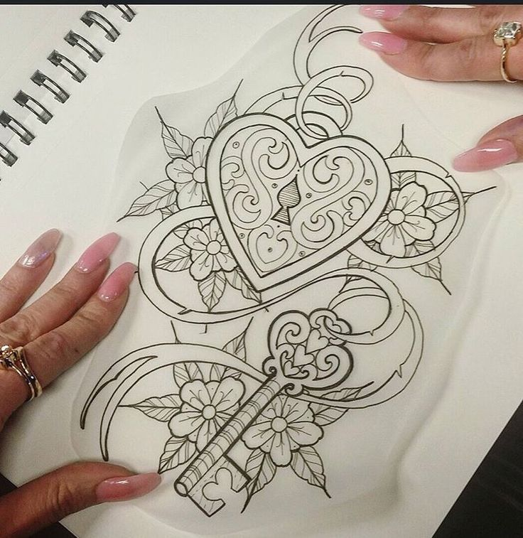 Unique women tattoo heart locket with key tattoo for Heart lock and key tattoo