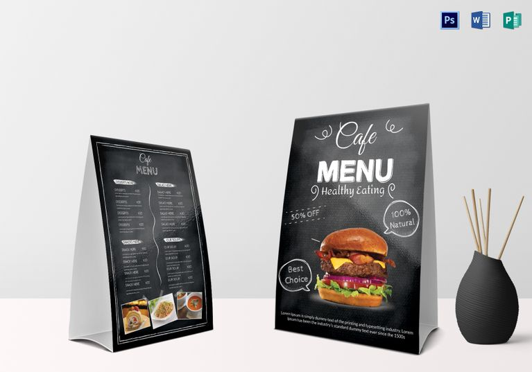 Sample Cafe Menu Table Tent  Menu Template Designs