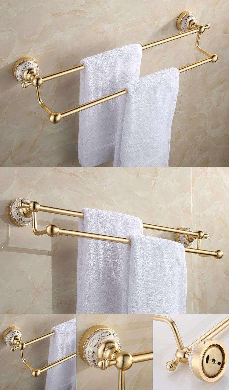 Antique Gold Bathroom Accessories Sets Aluminum with Ceramic Flower ...