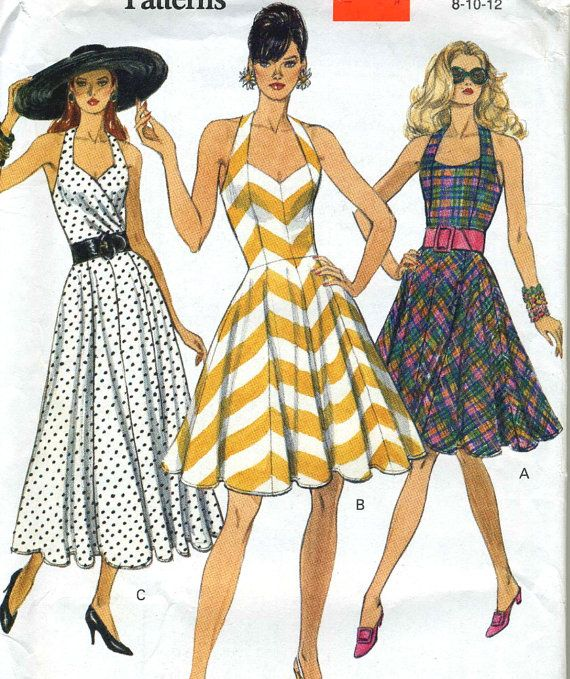 VTG Vogue 8320 UNCUT Misses Pin Up Halter Sundress by RomasMaison ...