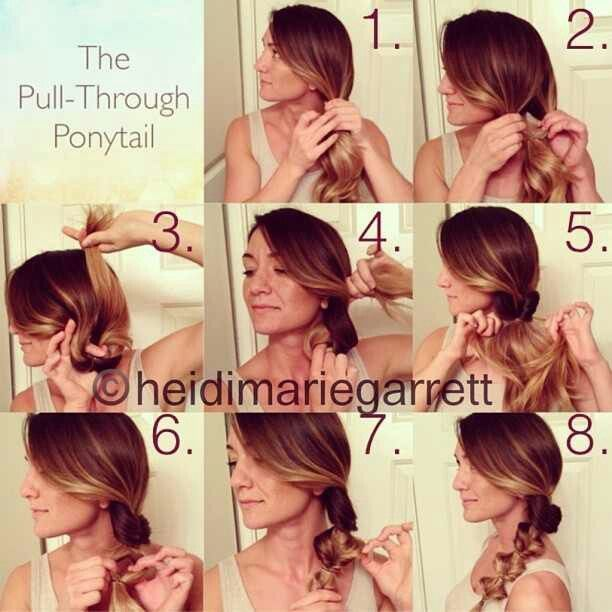 IG tutorial by heidimariegarrett_ Here's the easy step-by-step for the Pull-Through Ponytail: 1) neatly place your hair into a side pony 2) loosen ponytail and split the upper part in two to create a hole 3) loop the tail up through the hole 4) pull the tail all the way through the hole 5) tighten the ponytail 6) repeat steps 1-5 and continue down the rest of the ponytail 7) gently pull apart the loops to make each section fuller 8) enjoy your cute hair! #fullerponytail IG tutorial by heidimarie #fullerponytail