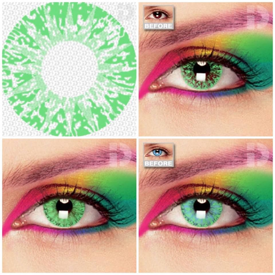 Use These Solar Green Crazy Coloured Contacts To Complete Your Halloween Costume This Green Colored Contacts Halloween Contact Lenses Bride Of Chucky Halloween