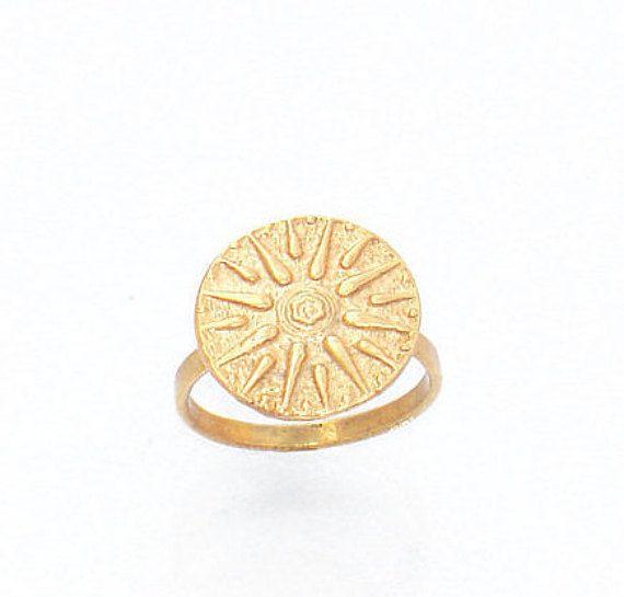 Vergina Sun Ring, Gold Star Disk Ring, Signet Ring Men, Brass Ring