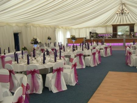 bedford rugby club chair covers with two tone purple sash