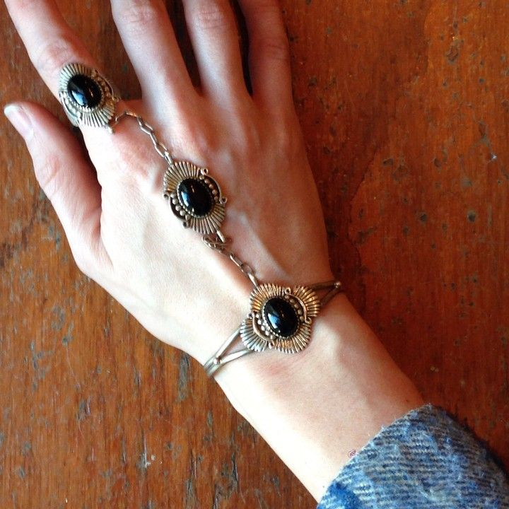 Vintage Sterling And Black Onyx Cuff Ring  from Goodbuy Girls for $175.00