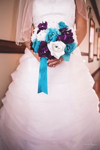 10 Bouquet Turquoise Purple Lavender White Rose Wedding Bouquet
