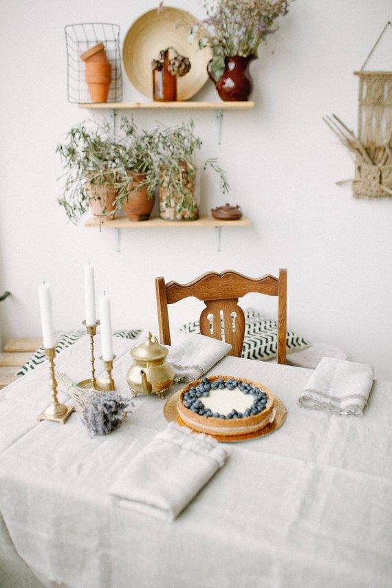 flax linen tablecloth napkins set natural stonewashed kitchen table rh pinterest com