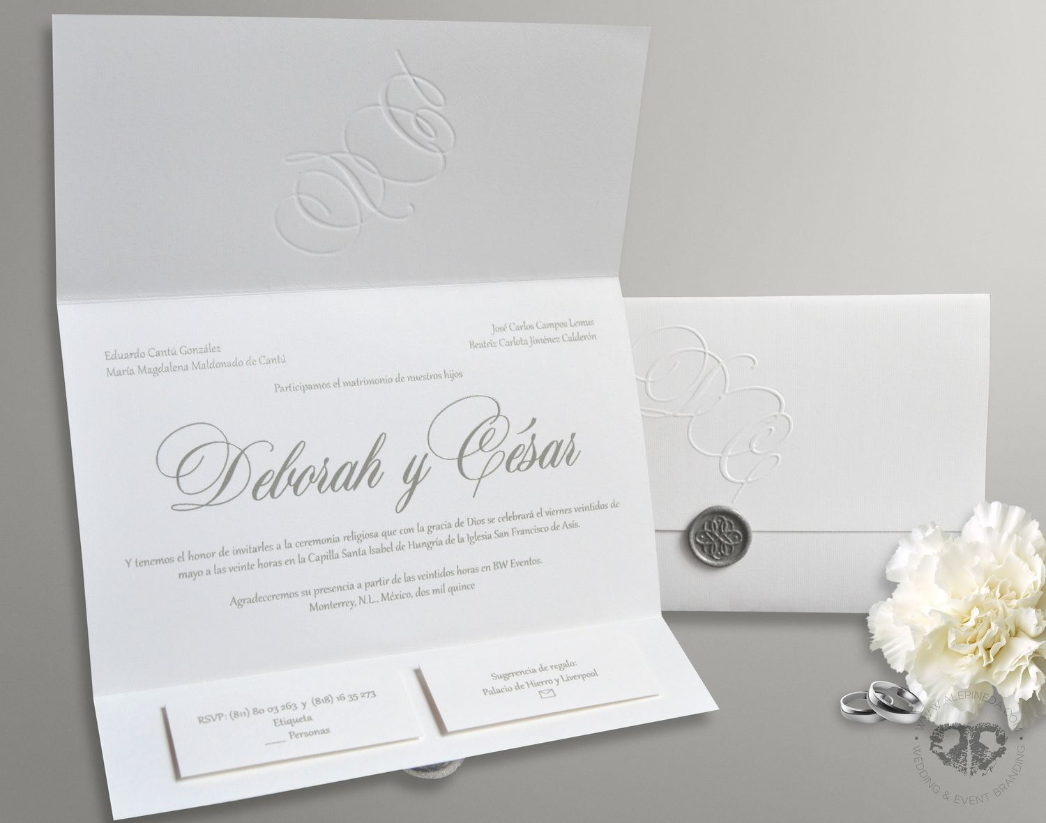 wedding invitation photo%0A Timeless elegant classy wedding invitation  White and grey  Silver wax seal