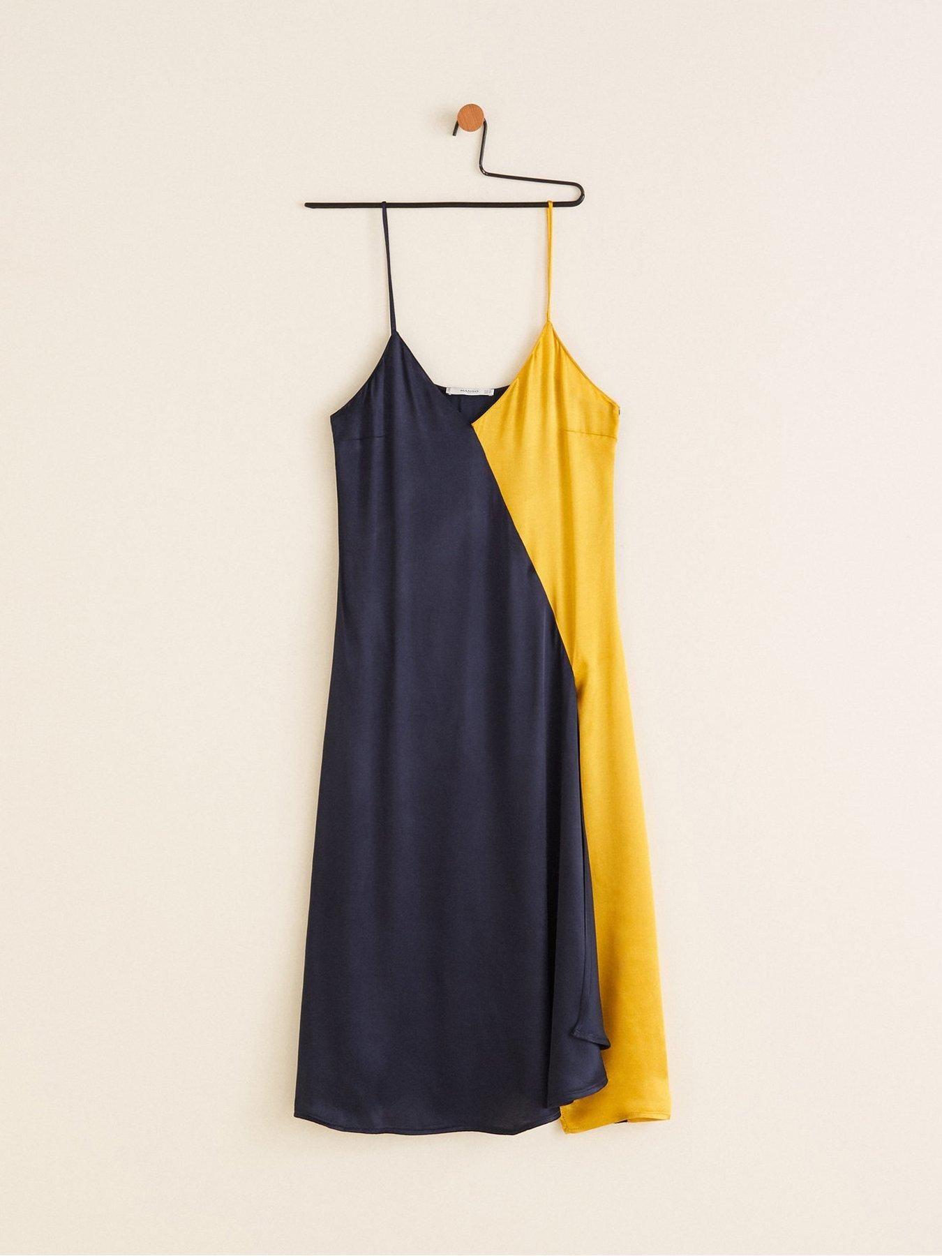 5d708e6a8ac9f1 Mango Colour Block Cami Midi Dress - Navy/Yellow | littlewoodsireland.ie Cami  Midi