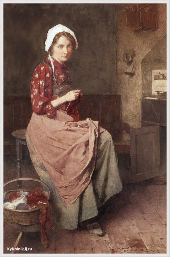 Carlton Alfred Smith (British, 1853-1946) «A young girl knitting»