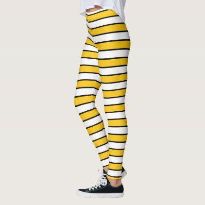 Central Florida Gold Waist Gold And White Stripes Black Leggings