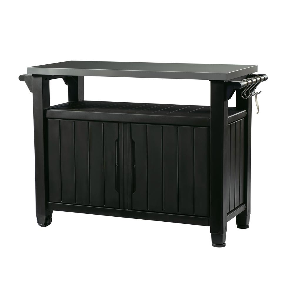 Keter Unity Xl 78 Gal Grill Serving Prep Station Cart With Patio Storage In Graphite 230851 The Home Depot In 2020 Patio Storage Outdoor Kitchen Grill Table