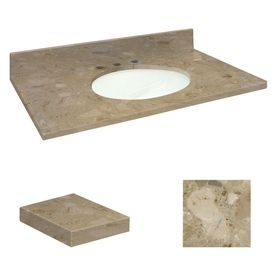 Transolid Java Coast Natural Marble Undermount Single Sink Bathroom Va