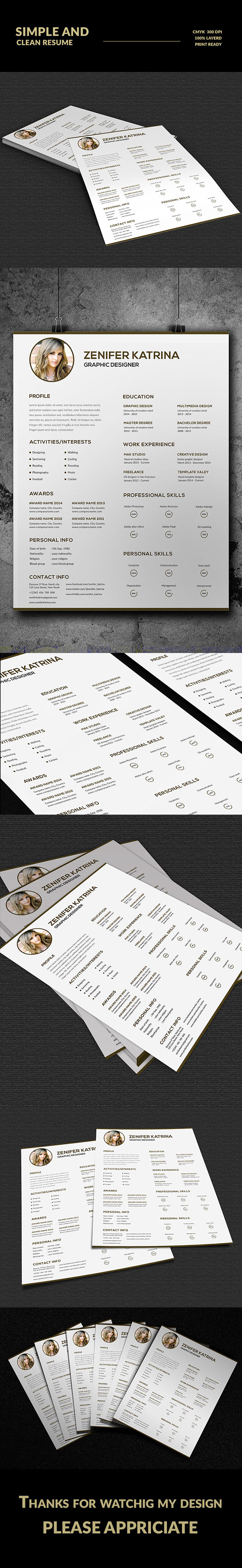 how do i format a resume%0A Simple and Clean Resume on Behance