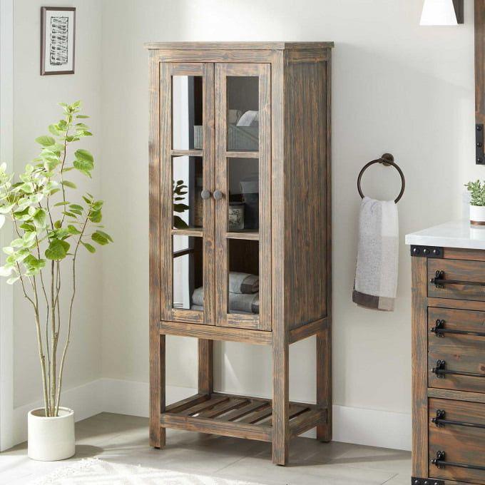 Helsinki Tempered Glass Shelf Linen Storage Cabinet Bathroom Towel Storage Cabinet Home Decor