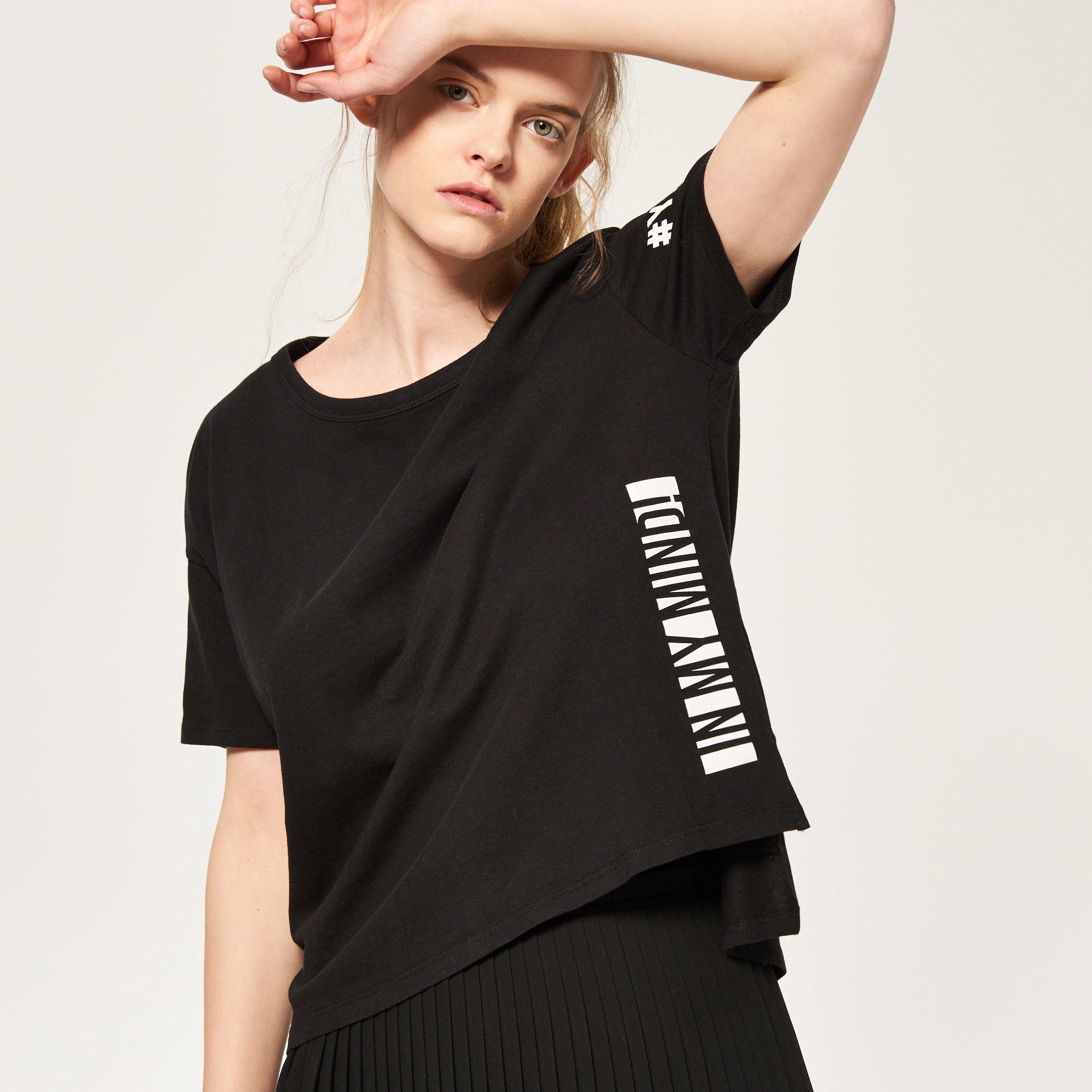 T-shirt z nadrukiem z tyłu, RESERVED, QP909-99X