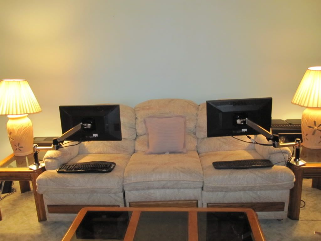 computer room living room monitor arms workstations couch rh pinterest com