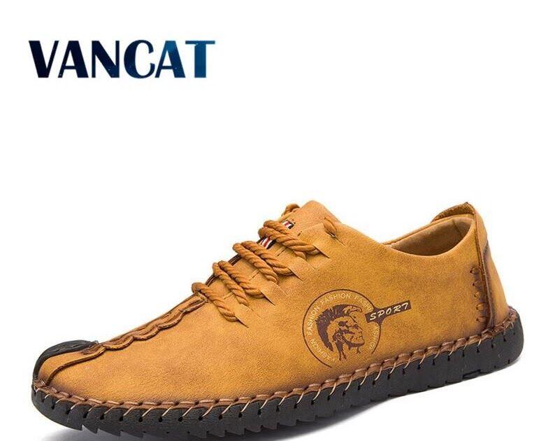 6328995864 SALE VANCAT 2018 New Comfortable Big size 38-46 Casual Shoes Loafers Men  Shoes Quality Split Leather Shoes Men Flats Moccasins Shoes