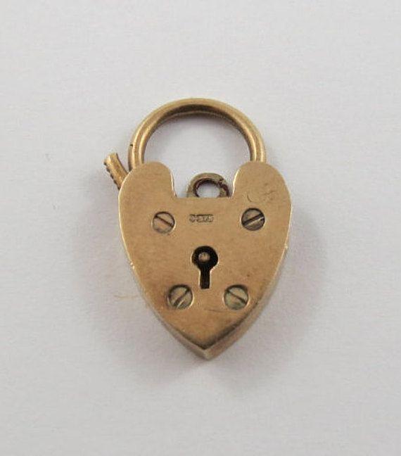 Heart Lock With Key Hole 9 Karat Mechanical Gold by SilverHillz