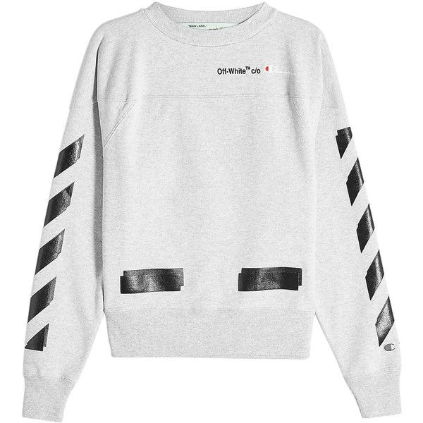 Off White X Champion Printed Cotton Sweatshirt 1 367 035 Cop Liked On Polyvore Featuring Men S Fashio Off White Sweatshirt Sweatshirts Grey Sweatshirt Mens