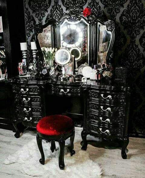 Photo of Gorgeous goth makeup vanity. Pure black. Dark side. Red velvet. Dream beauty tab…