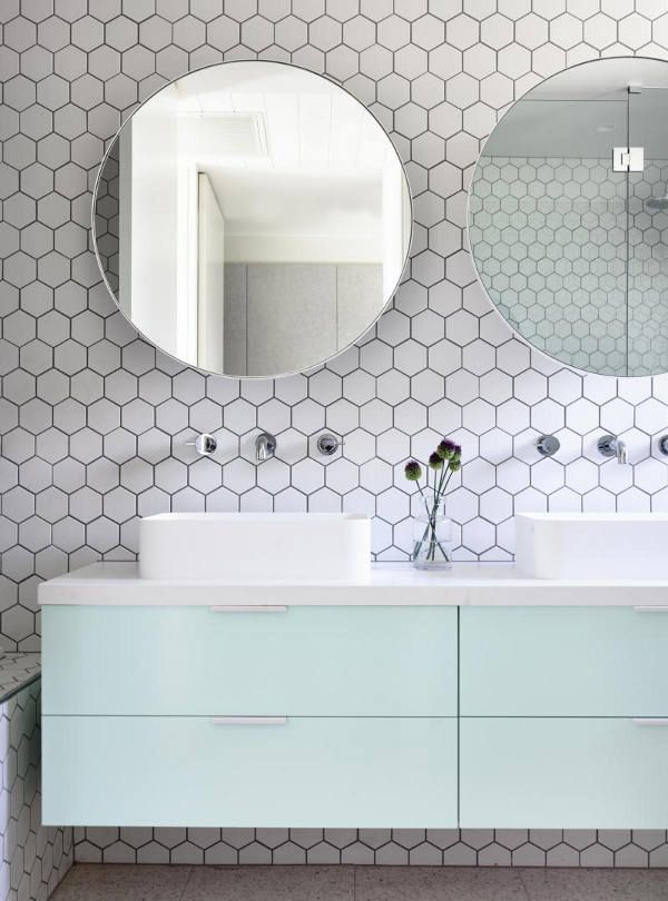 Mint Floating Cabinetry Hex Honeycomb Tile Round Mirrors Wall - Honeycomb tile bathroom