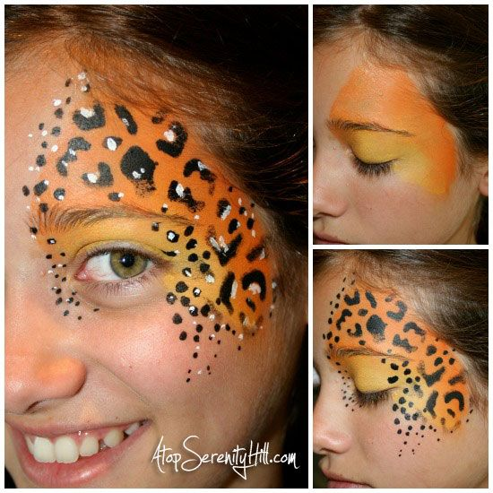 Halloween face painting • stenciled animal prints | Face