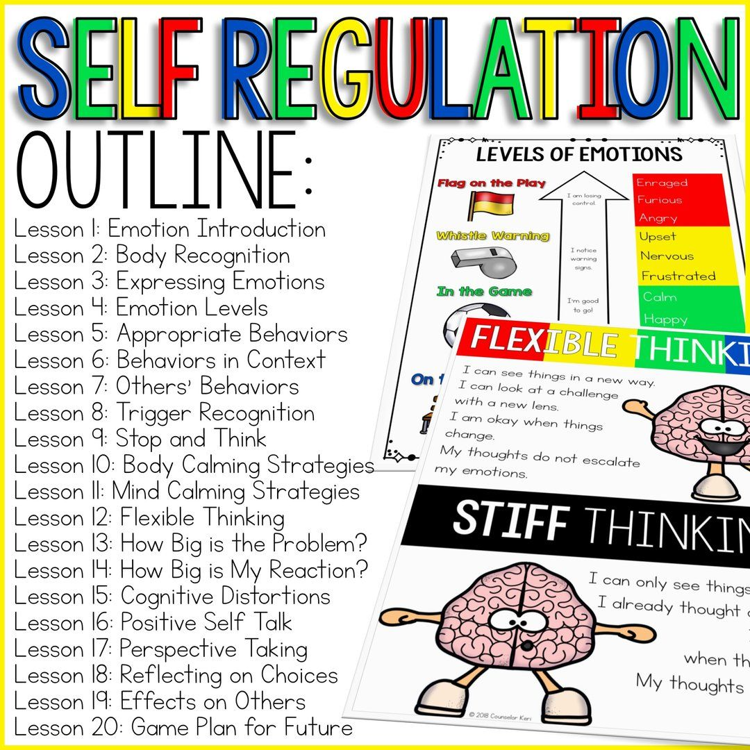 Self Regulation Curriculum Self Regulation Activities For School Counseling