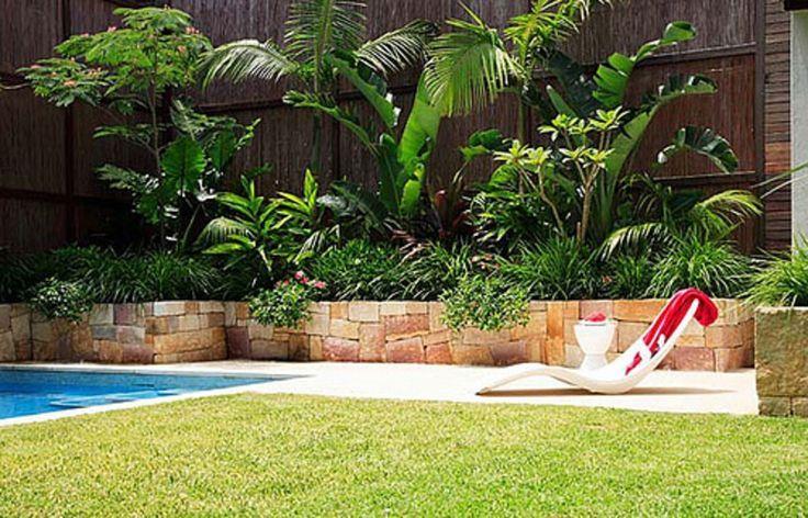 Planting A Retaining Wall Tropical Garden Google Search Backyard Garden Landscape Pool Landscaping Modern Landscaping