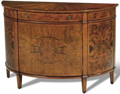 demilune console cabinet scarborough house burl walnut 1 door rh pinterest com